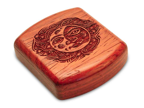 "Top View of a 2"" Flat Wide Padauk with laser engraved image of Smiling Moon"