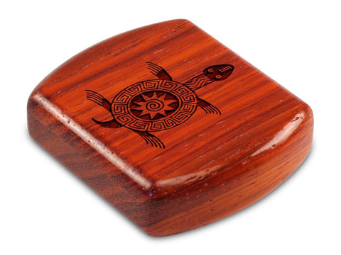 "Top View of a 2"" Flat Wide Padauk with laser engraved image of Primitive Turtle"