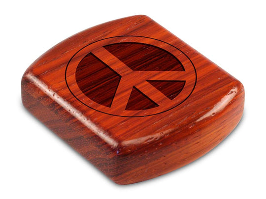 "Top View of a 2"" Flat Wide Padauk with laser engraved image of Peace Sign"