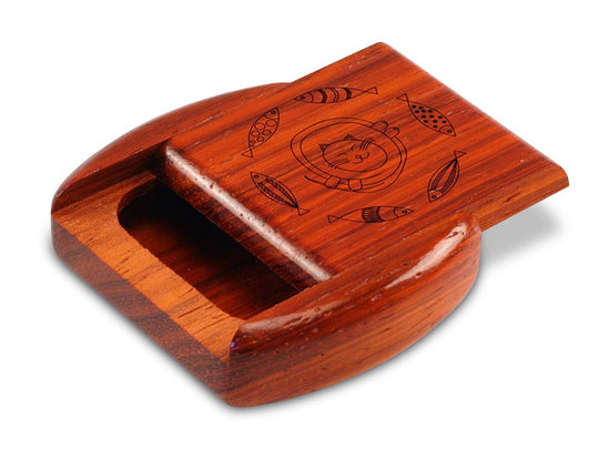 "Opened View of a 2"" Flat Wide Padauk with laser engraved image of Cat & Fish"