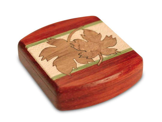 "Top View of a 2"" Flat Wide Padauk with marquetry pattern of Maple Leaves Marquetry"