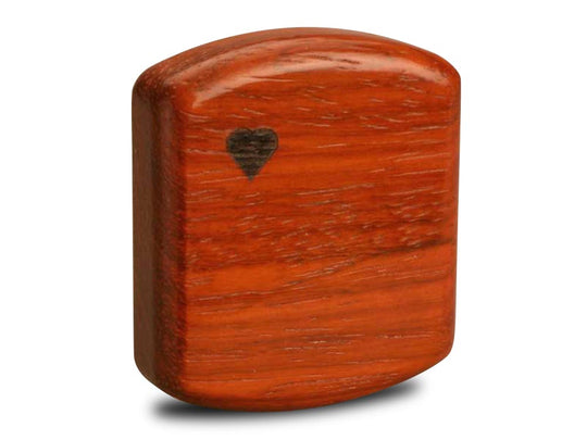 "Back View of a 2"" Flat Wide Padauk with marquetry pattern of Maple Leaves Marquetry"