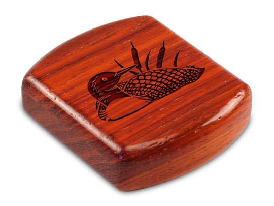 "Top View of a 2"" Flat Wide Padauk with laser engraved image of Loon"