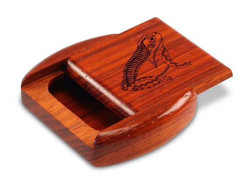 "Top View of a 2"" Flat Wide Padauk with laser engraved image of Heartline Frog"
