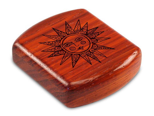 "Top View of a 2"" Flat Wide Padauk with laser engraved image of Sunshine"