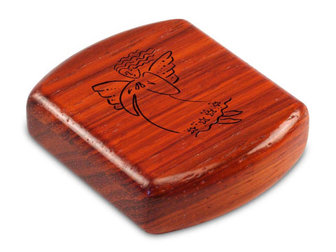 "Top View of a 2"" Flat Wide Padauk with laser engraved image of Angel Cares"