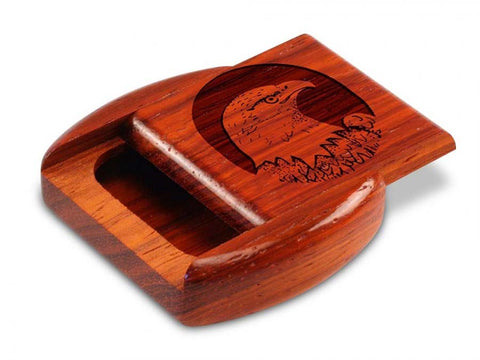 "Top View of a 2"" Flat Wide Padauk with laser engraved image of Eagle Head Circle"