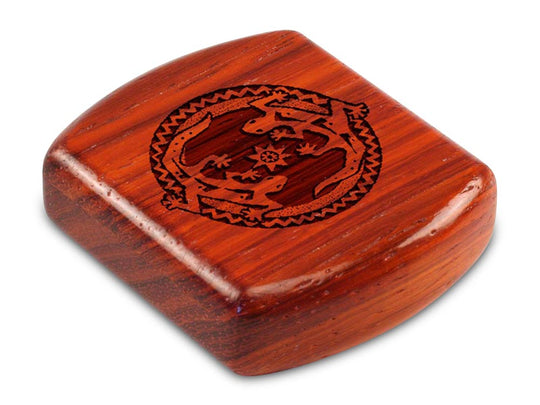 "Top View of a 2"" Flat Wide Padauk with laser engraved image of Geckos"