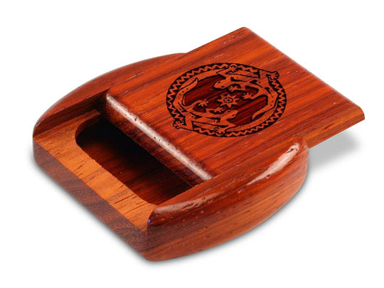 "Opened View of a 2"" Flat Wide Padauk with laser engraved image of Geckos"
