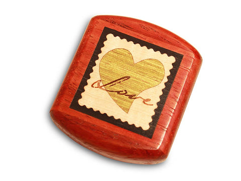"Top View of a 2"" Flat Wide Padauk with marquetry pattern of Love Stamp Marquetry Light"
