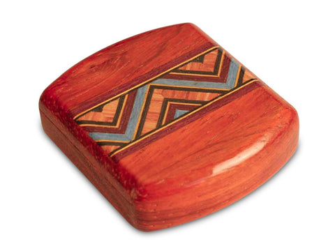 "Top View of a 2"" Flat Wide Padauk with inlay pattern of Kaleidoscope Inlay"
