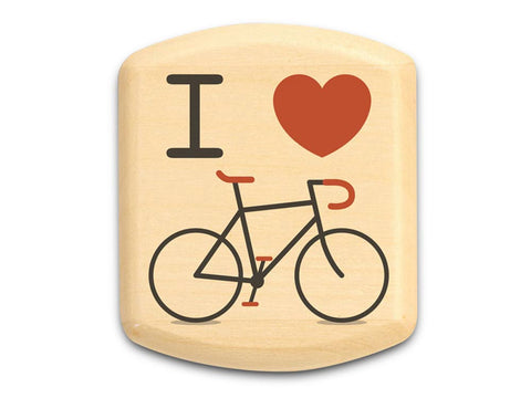 "Top View of a 2"" Flat Wide Aspen with color printed image of I Love Bicycle"