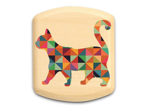 "Top View of a 2"" Flat Wide Aspen with color printed image of Patterned Cat"