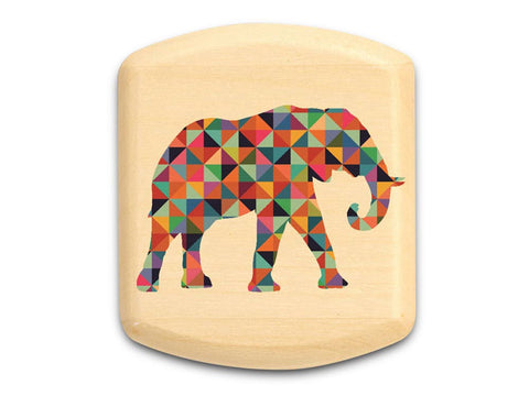 "Top View of a 2"" Flat Wide Aspen with color printed image of Patterned Elephant"