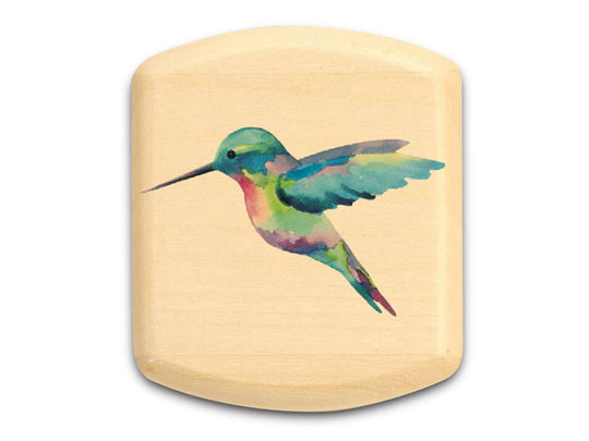 "Top View of a 2"" Flat Wide Aspen with color printed image of Hummingbird II"