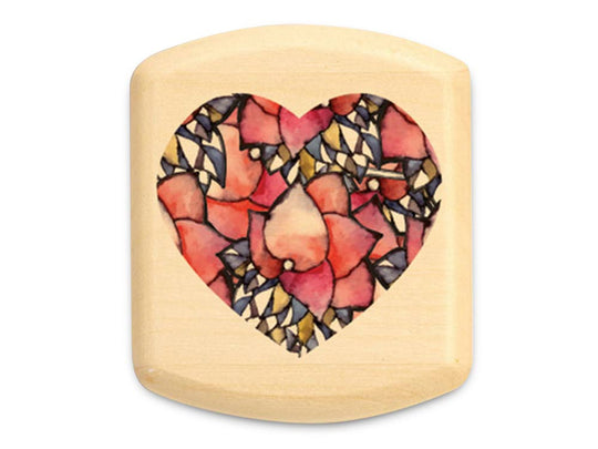 "Top View of a 2"" Flat Wide Aspen with color printed image of Watercolor Heart"