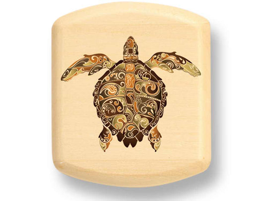 "Top View of a 2"" Flat Wide Aspen with color printed image of Tribal Turtle"