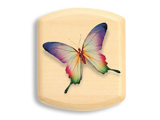 "Top View of a 2"" Flat Wide Aspen with color printed image of Colorful Butterfly"