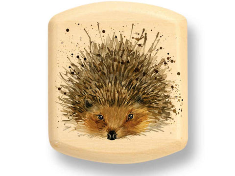 "Top View of a 2"" Flat Wide Aspen with color printed image of Hedgehog"