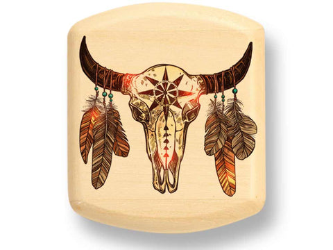 "Top View of a 2"" Flat Wide Aspen with color printed image of Bison Skull"
