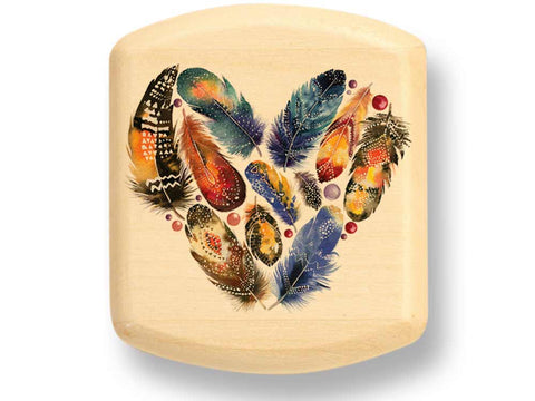 "Top View of a 2"" Flat Wide Aspen with color printed image of Feathered Heart"