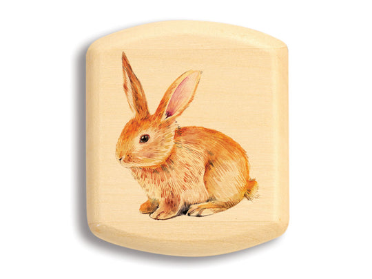 "Top View of a 2"" Flat Wide Aspen with color printed image of Bunny Rabbit"