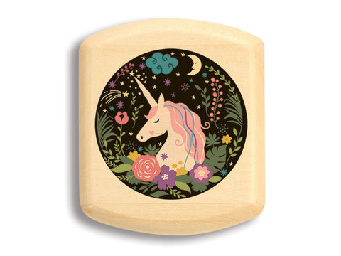 "Top View of a 2"" Flat Wide Aspen with color printed image of Floral Unicorn"