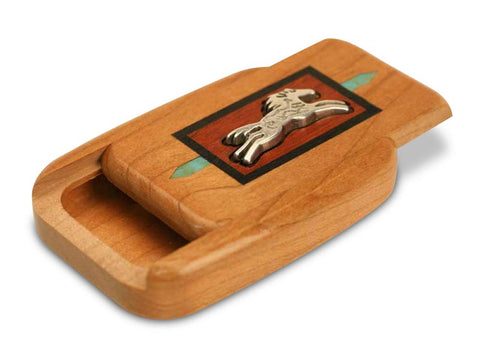 "Top View of a 3"" Flat Wide Cherry with inlay pattern of Horse Spirit Silverscape"