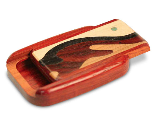 "Opened View of a 3"" Flat Wide Padauk with marquetry pattern of Wave Marquetry"