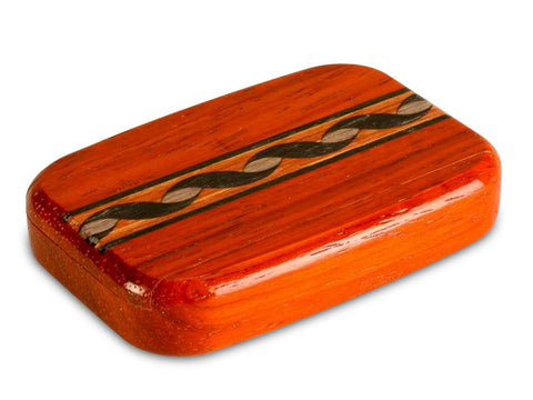 "Top View of a 3"" Flat Wide Padauk with inlay pattern of Blue and Tan Helix Inlay"