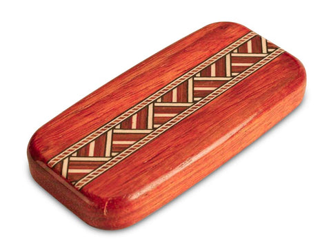"Top View of a 4"" Flat Wide Padauk with inlay pattern of Zig Zag Inlay"