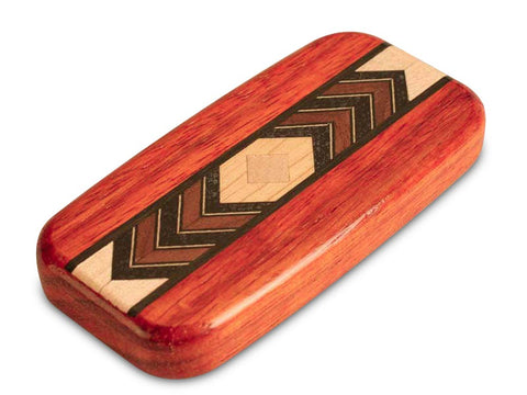 "Top View of a 4"" Flat Wide Padauk with inlay pattern of Diamond Zoom Inlay"