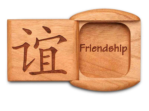 "Top View of a 2"" Flat Wide Cherry with laser engraved image of Friendship"