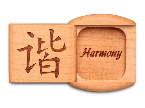 "Top View of a 2"" Flat Wide Cherry with laser engraved image of Harmony"