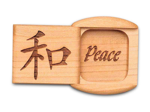 "Top View of a 2"" Flat Wide Cherry with laser engraved image of Peace"