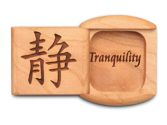 "Top View of a 2"" Flat Wide Cherry with laser engraved image of Tranquility"