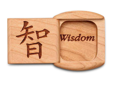 "Top View of a 2"" Flat Wide Cherry with laser engraved image of Wisdom"