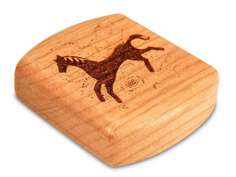 "Top View of a 2"" Flat Wide Cherry with laser engraved image of Running Horse Power Free"
