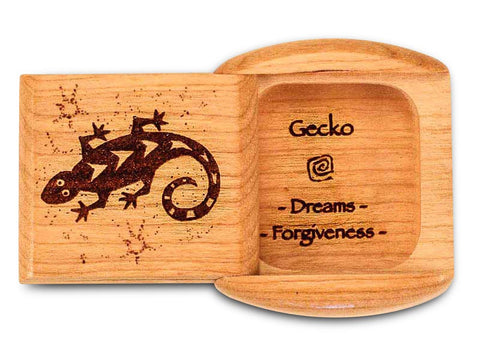 "Top View of a 2"" Flat Wide Cherry with laser engraved image of Gecko Dreams Forgiveness"