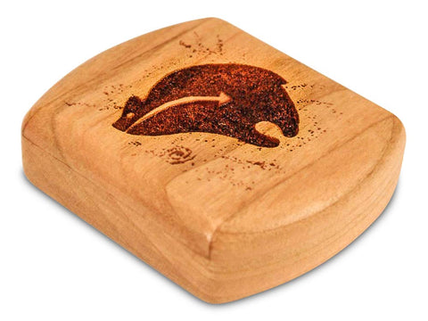 "Top View of a 2"" Flat Wide Cherry with laser engraved image of Heartline Bear Luck Friends"