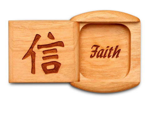 "Top View of a 2"" Flat Wide Cherry with laser engraved image of Faith"