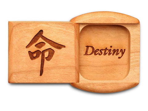 "Top View of a 2"" Flat Wide Cherry with laser engraved image of Destiny"