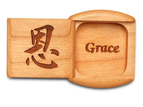 "Top View of a 2"" Flat Wide Cherry with laser engraved image of Grace"