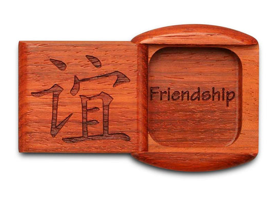 "Top View of a 2"" Flat Wide Padauk with laser engraved image of Friendship"