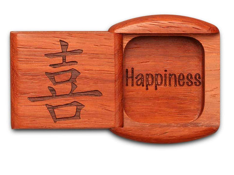 "Top View of a 2"" Flat Wide Padauk with laser engraved image of Happiness"