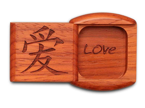 "Top View of a 2"" Flat Wide Padauk with laser engraved image of Love"