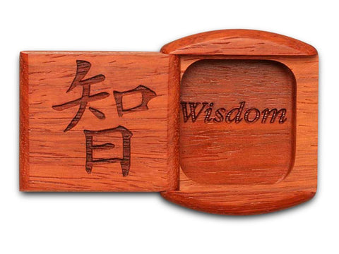 "Top View of a 2"" Flat Wide Padauk with laser engraved image of Wisdom"