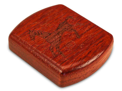 "Top View of a 2"" Flat Wide Padauk with laser engraved image of Running Horse Power Free"