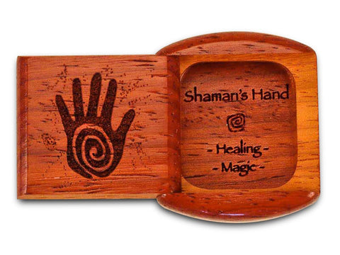 "Top View of a 2"" Flat Wide Padauk with laser engraved image of Shaman's Hand Heal Magic"