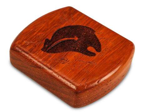 "Top View of a 2"" Flat Wide Padauk with laser engraved image of Heartline Bear Luck Friends"